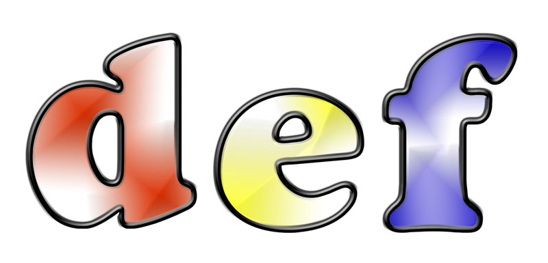 letter shapes and outlines 2-tone with effects