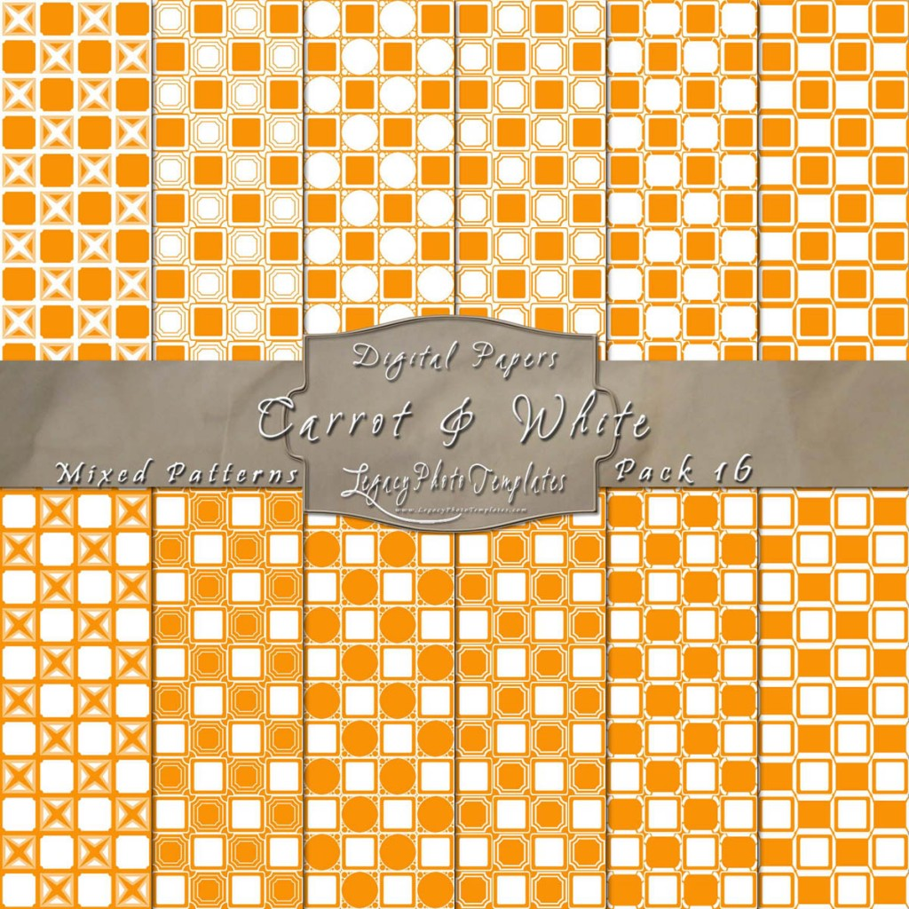 Carrot Orange & White Scrapbook Mixed Pattern Paper Set