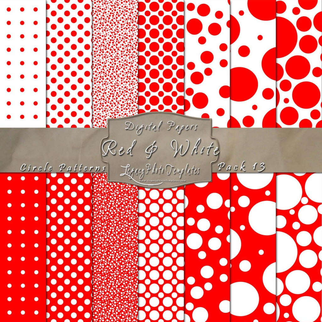 Red white scrapbook polka dots paper set for Red and white polka dot pattern