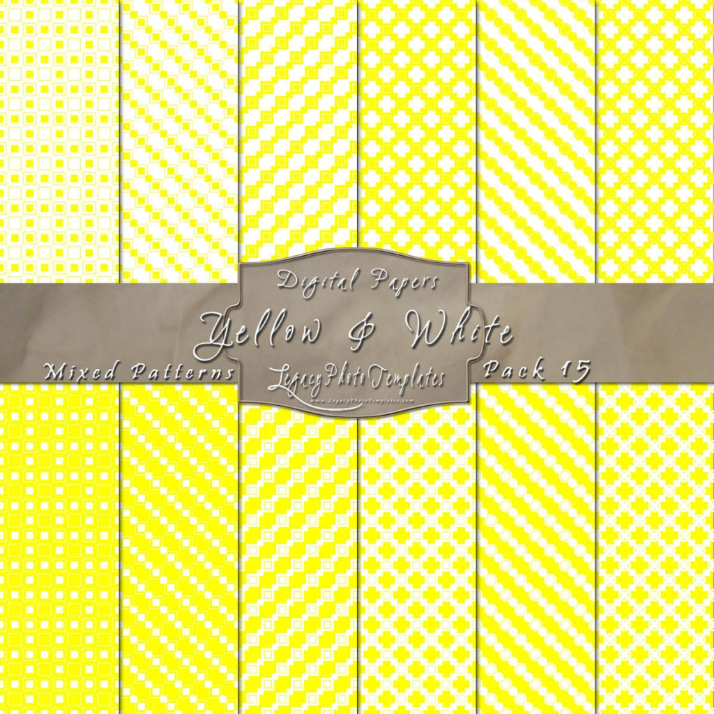 Yellow & White Scrapbook Mixed Pattern Paper Pack