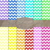 Bold Chevron Pattern in Bright Colors & White – Digital Paper Pack 13