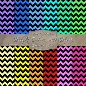 Bold Chevron Pattern in Bright Colors & Black – Digital Paper Pack 14