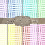 Flower Pattern in Bright Colors & White – Digital Paper Pack 28
