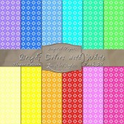 Flower Pattern in Bright Colors & White – Digital Paper Pack 30