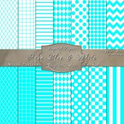 Basic Multi-Pattern Pack in Aqua Blue & White – Digital Paper Pack 1