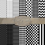 Basic Multi-Pattern Pack in Black & White – Digital Paper Pack 1