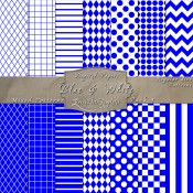 Basic Multi-Pattern Pack in Blue & White – Digital Paper Pack 1