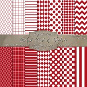 Basic Multi-Pattern Pack in Brick Red & White – Digital Paper Pack 1