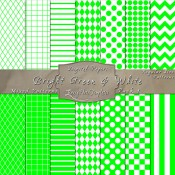 Basic Multi-Pattern Pack in Bright Green & White – Digital Paper Pack 1