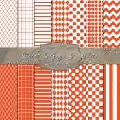 Basic Multi-Pattern Pack in Burnt Orange & White – Digital Paper Pack 1