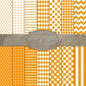 Basic Multi-Pattern Pack in Carrot & White – Digital Paper Pack 1