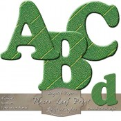 Macro Leaf Print – Curved Digital Alphabet & Numbers
