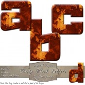 Rusted Metal – Digital Block Alphabet & Numbers