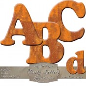 Rusty Metal – Curved Alphabet & Numbers