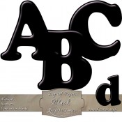 Black Curved Digital Alphabet & Numbers