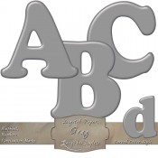 Gray Curved Digital Alphabet & Numbers