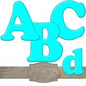Aqua Blue – Curved Alphabet & Numbers