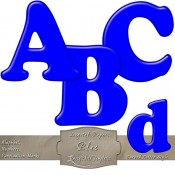 Blue – Curved Alphabet & Numbers