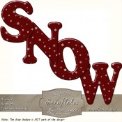 White Snowflakes on Dark Red Curved Alphabet Letters