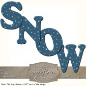 White Snowflakes on Ocean Blue Curved Alphabet Letters
