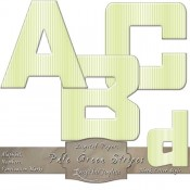 Pale Green & White Stripes – Curved Alphabet & Numbers