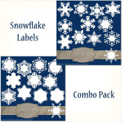 24 Snowflake Labels – Combo Pack
