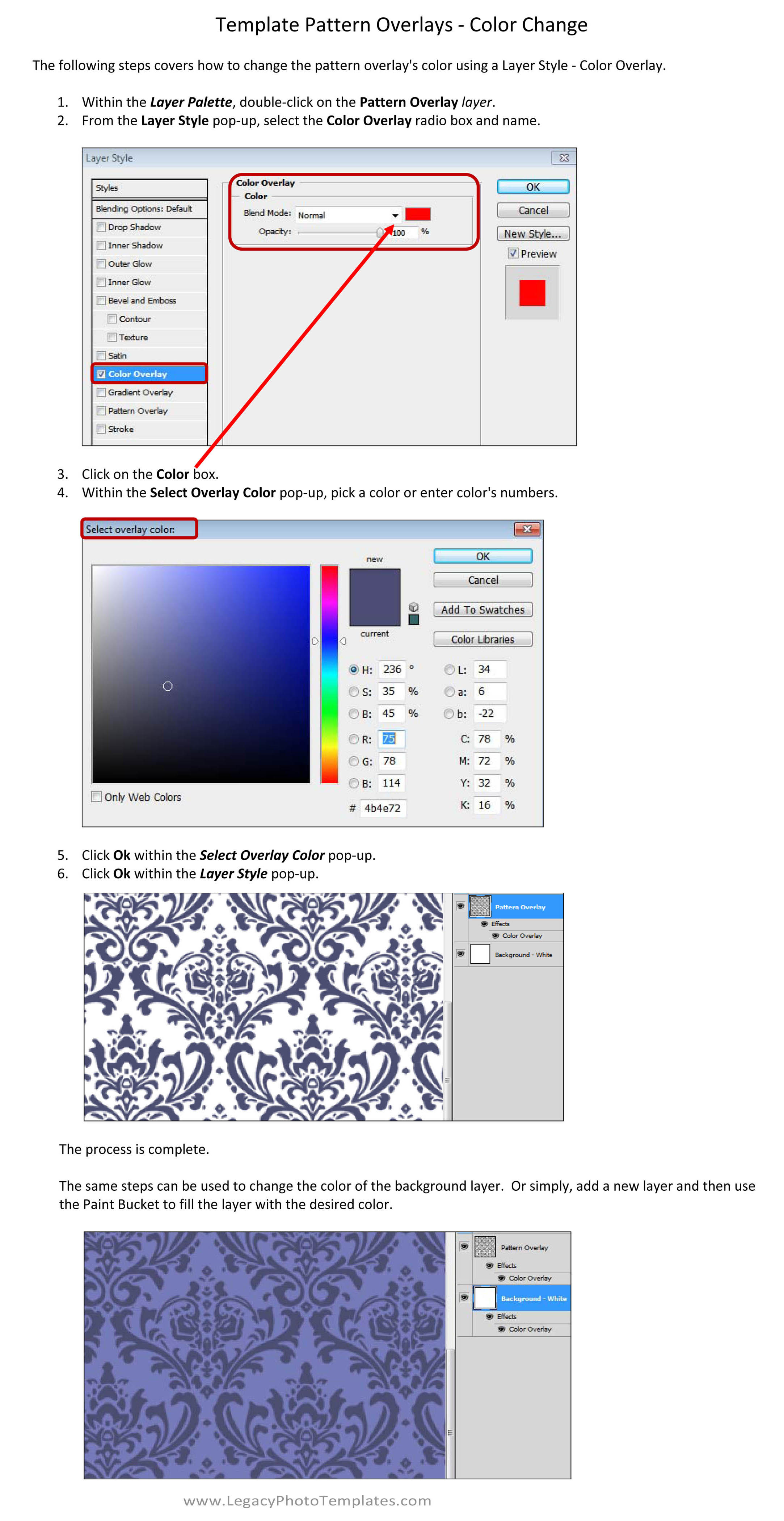 How to change the color of a Pattern Overlay