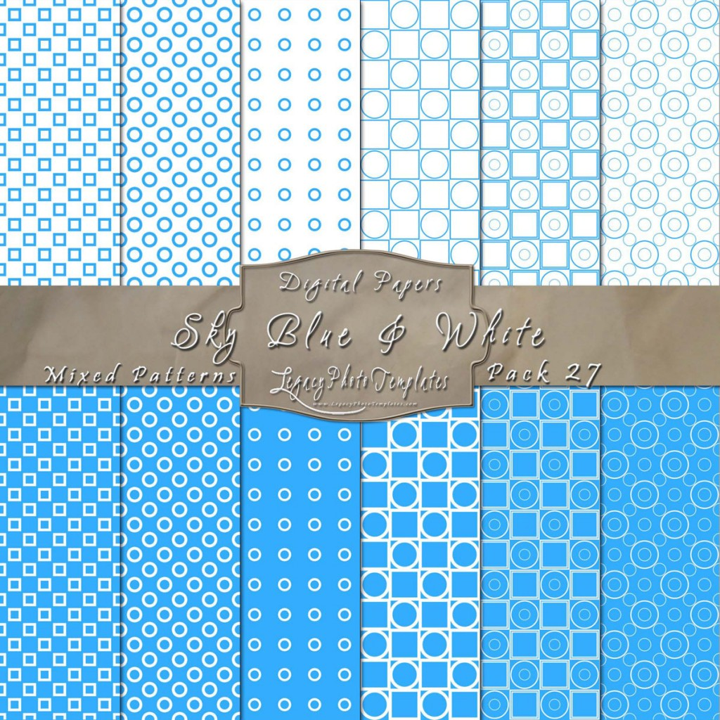 Sky Blue & White Geometric Paper Pack