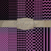 Basic Multi-Pattern Pack in Black Purple Pink Color & Black – Digital Paper Pack 1B