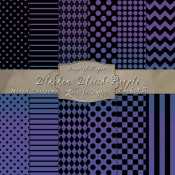 Basic Multi-Pattern Pack in Blacken Bluish Purple Color & Black – Digital Paper Pack 1B