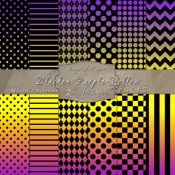 Basic Multi-Pattern Pack in Blacken Purple Yellow Color & Black – Digital Paper Pack 1B