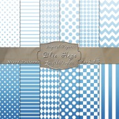 Basic Multi-Pattern Pack in Blue Haze Color & White – Digital Paper Pack 1B