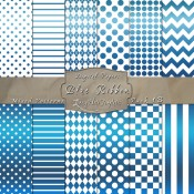 Basic Multi-Pattern Pack in Blue Ribbon Color & White – Digital Paper Pack 1B