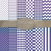 Basic Multi-Pattern Pack in Bluish Purple Color & White – Digital Paper Pack 1B