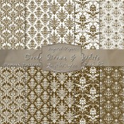 Damask Designs in Cocoa Brown & White – Digital Paper Pack 63