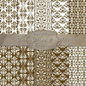 Damask Designs in Cocoa Brown & White – Digital Paper Pack 64