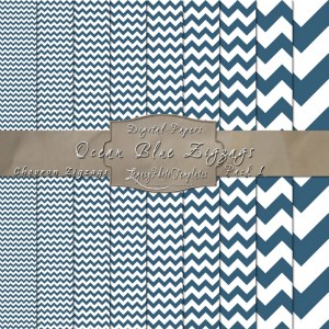 12x12 Ocean Blue & White Zigzags DP01-Display1