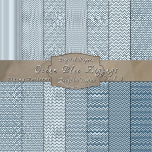 12x12 Ocean Blue & White Zigzags DP03-Display1