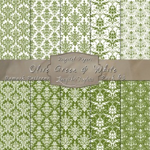 12x12 Patterns Olive Green & White - DP063 Display