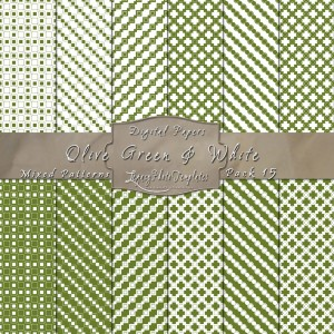 12x12 Patterns Olive Green&White - DP015 Display