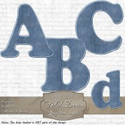 Faded Denim Curved Alphabet & Numbers